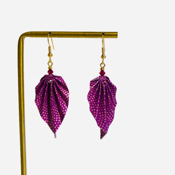 Purple origami leaves earrings