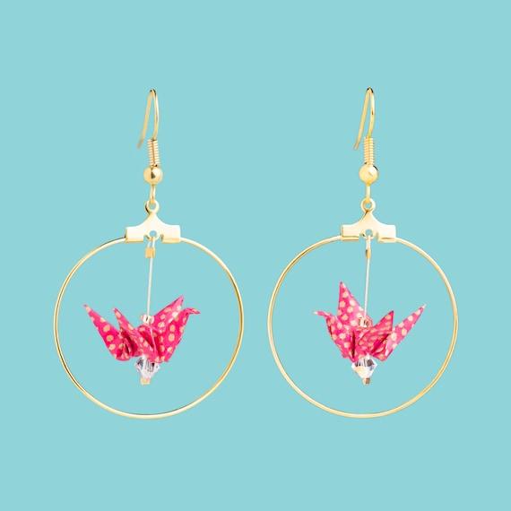 Origami birds golden hoop earrings pink golden polka dots patterns