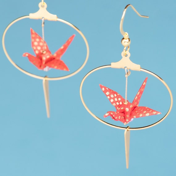 Handmade origami red cranes hoop earrings with fine gold