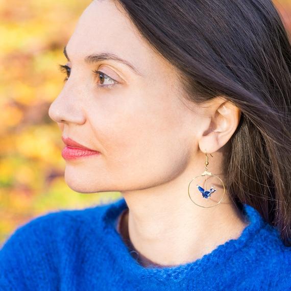 Dark blue and white origami bird hoop earrings