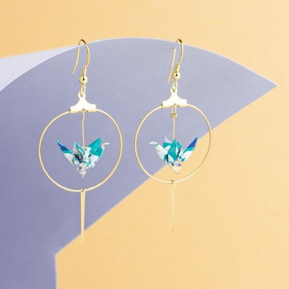 Origami cranes hoop earrings light blue and white