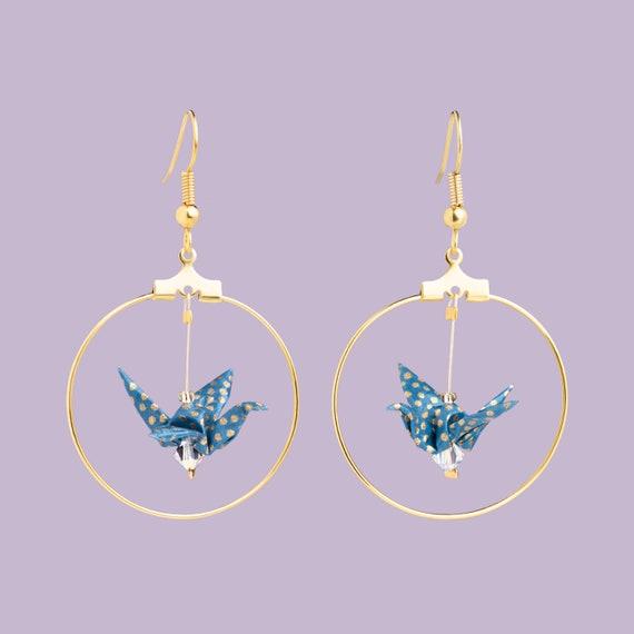 Boucles d'oreille créoles origami, bleu gris pois dorés