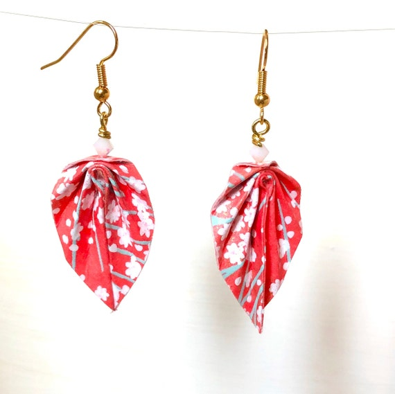 Origami leaves red and white earrings