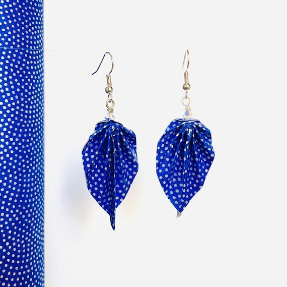 Origami leaves earrings royal blue polished washi paper