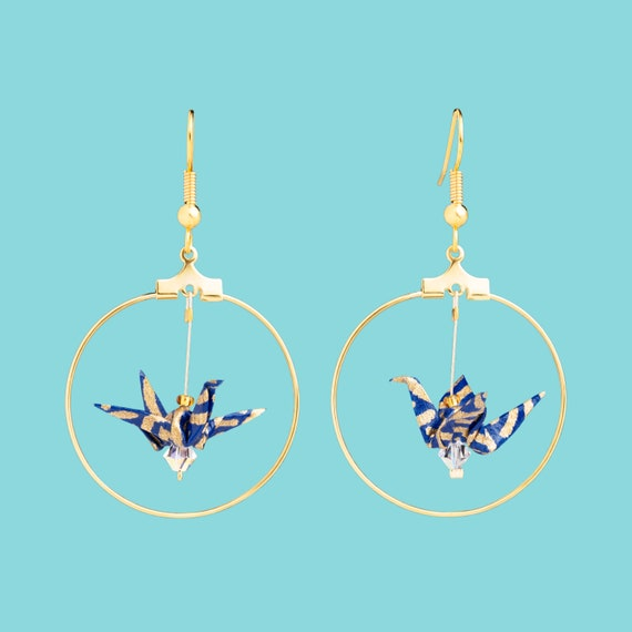 Blue origami crane earrings with golden waves
