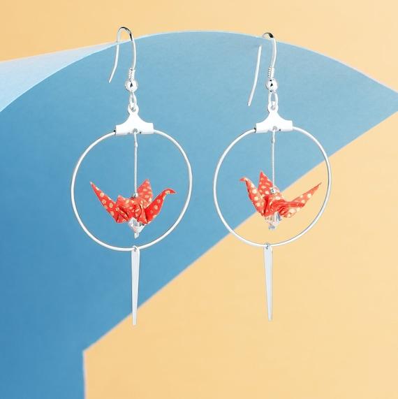 Silver plated red origami crane hoop earrings