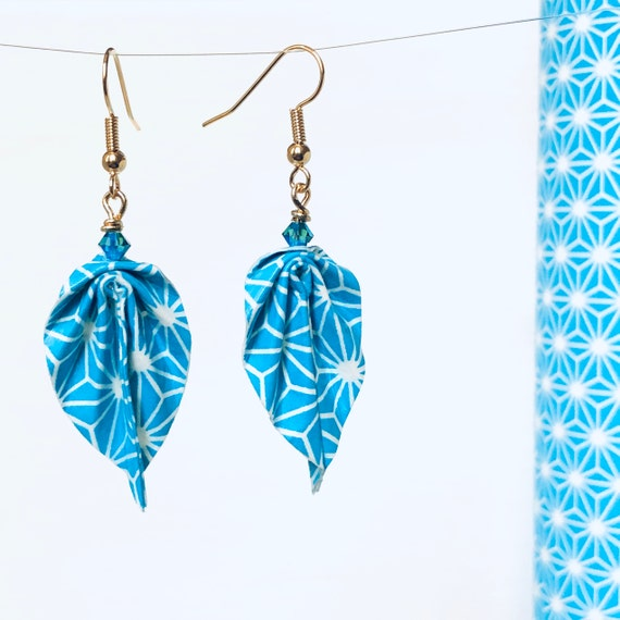 Paper leaves earrings turquoise blue white stars pattern