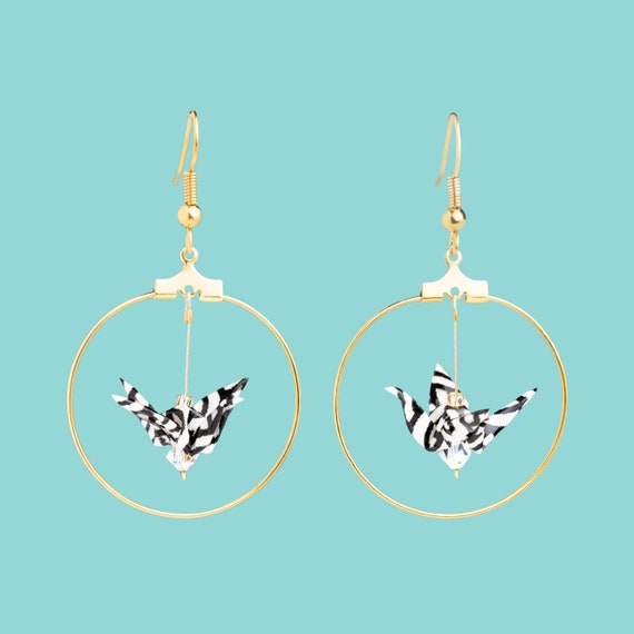 Origami birds golden hoop earrings black and white waves