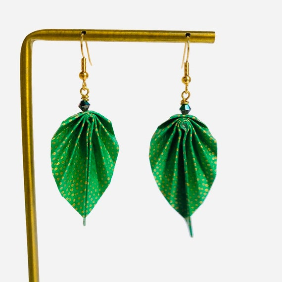 Origami green leaves earrings