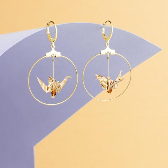 white and golden origami crane earrings