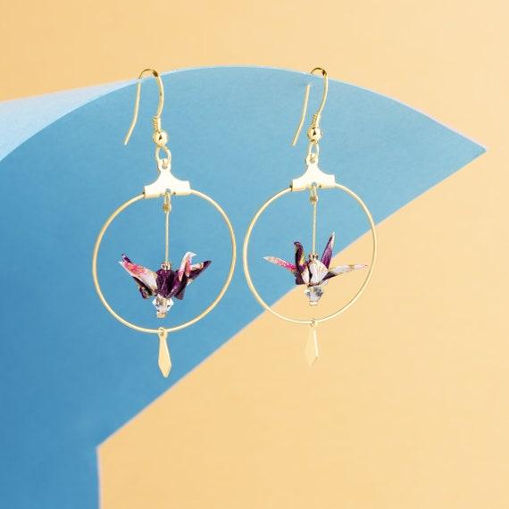 Purple origami cranes hoop earrings