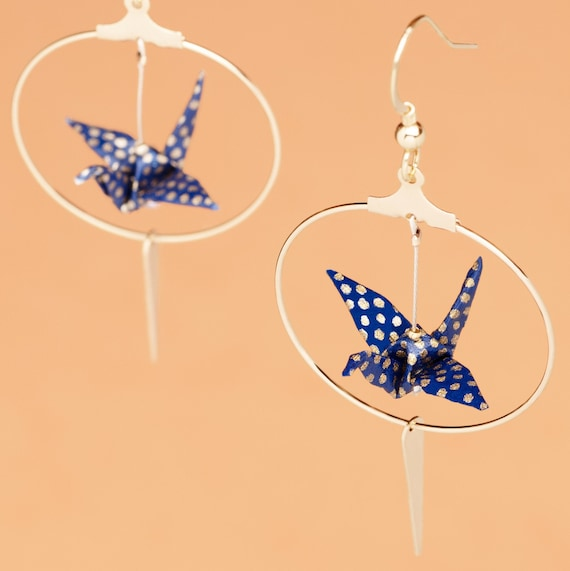 Origami crane earrings blue with golden polka dots