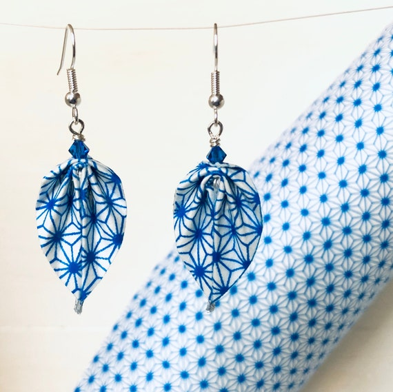 Origami leaves earrings royal blue and white geometrical patterns