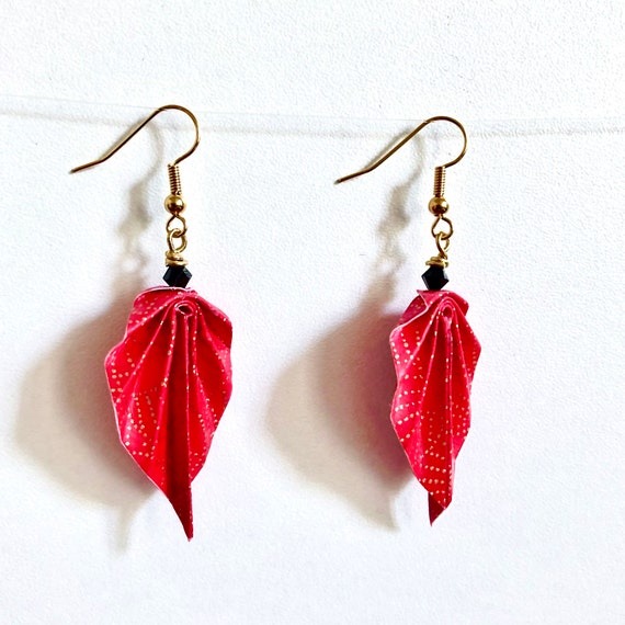 Origami leaves golden brass earrings red and gold dotted fans