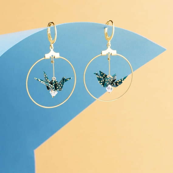 Origami birds hoop earrings green polka dots