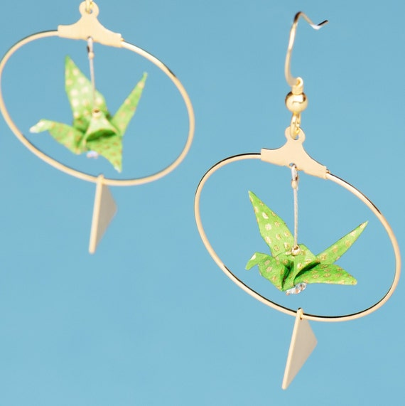 Green origami cranes hoop gold plated earrings