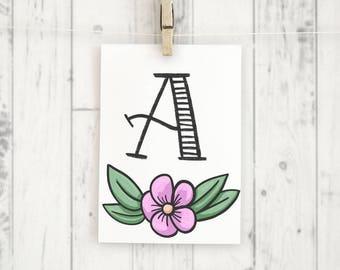 Monogramm A, Buchstabe, Druckvorlage Printable Poster Din A4, Blumen, Florales Muster, Geburtstag, Geburt, Baby, Initialien