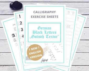 calligraphy practice sheets - old german black letter Gotisch Textur | digital version A4 PDF