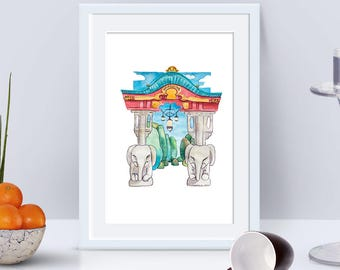 "Berliner Bezirke ""Stadtansichten"" No 3 Tiergarten Elefantentor (Digitaler Download, Druckvorlage), Aquarell, Illustration"