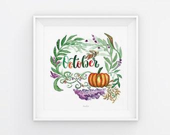 Oktober Lettering mit Aquarell Blumen, Download, Druckvorlage, Printable, 21x21 cm, Kalender, Quadrat, Gemälde, Saisonal
