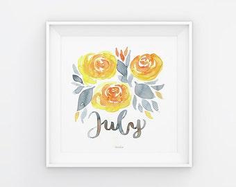 Juli Lettering mit Aquarell Blumen, Download, Druckvorlage, Printable, 21x21 cm, Kalender, Quadrat, Gemälde, Saisonal