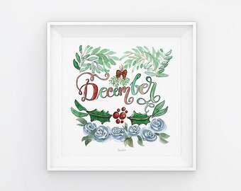 Dezember Lettering mit Aquarell Blumen, Druck, Print, Download, Druckvorlage, Printable, 21x21 cm, Kalender, Quadrat, Gemälde, Saisonal