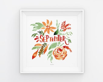 September Lettering mit Aquarell Blumen, Download, Druckvorlage, Printable, 21x21 cm, Kalender, Quadrat, Gemälde, Saisonal
