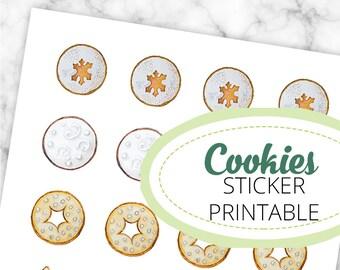 Weihnachtskekse Aquarell-Illustrationen Stickerbogen, 3cm Durchmesser, Printable, digitaler Download, Weihnachten, Kekse, Cameo Silhouette,