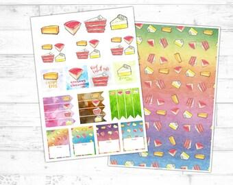 KUCHEN Motiv Aquarell Planer-Sticker (Digitaler Download, Druckvorlage), Illustration, Stickerbogen, für Filofax und andere Kalenderbücher