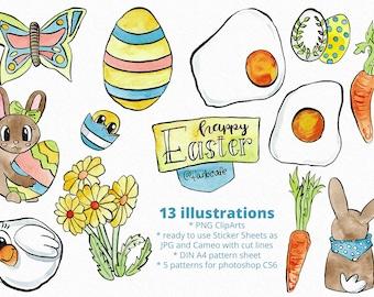 Frohe Ostern, Sticker, Printable, ClipArt, Aquarell Illustrationen (Digitaler Download, Druckvorlage), Illustration, Stickerbogen, für Cameo