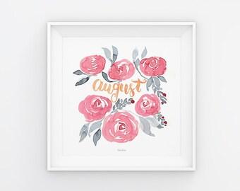 August Lettering mit Aquarell Blumen, Download, Druckvorlage, Printable, 21x21 cm, Kalender, Quadrat, Gemälde, Saisonal