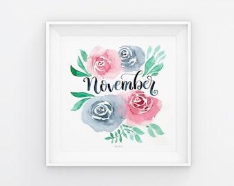 November Lettering mit Aquarell Blumen, Download, Druckvorlage, Printable, 21x21 cm, Kalender, Quadrat, Gemälde, Saisonal