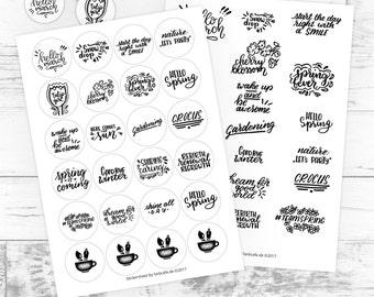 Frühling Sticker-Bögen, 2 Versionen, in Stempel-Optik, Lettering Motiv Planer (Digitaler Download, Druckvorlage), Illustration, Stickerbogen