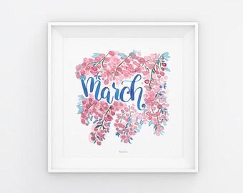 März Lettering mit Aquarell Blumen, Download, Druckvorlage, Printable, 21x21 cm, Kalender, Quadrat, Saisonal, Gemälde