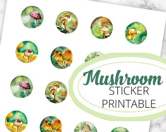 Pilze Miniatur-Aquarelle Stickerbogen, 24 Sticker, 8 Motive, 3cm Durchmesser, Druckvorlage, Printable, Digitaler Download