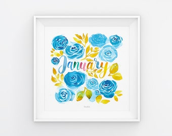 Januar Lettering mit Aquarell Blumen, Download, Druckvorlage, Printable, 21x21 cm, Kalender, Quadrat, Gemälde, Saisonal