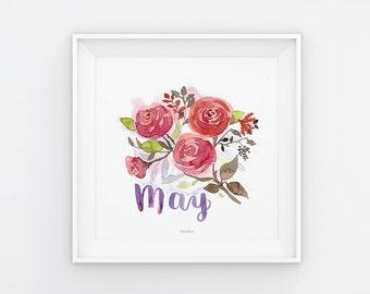Mai Lettering mit Aquarell Blumen, Download, Druckvorlage, Printable, 21x21 cm, Kalender, Quadrat, Gemälde, Saisonal
