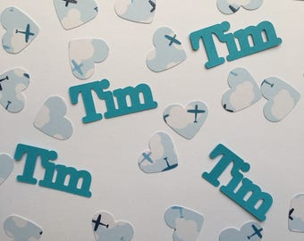 Personalized Confetti XL - Heart shaped Airplane Jets and Clouds - Baby Shower or Birthday Custom Confetti