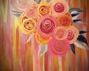 Abstract painting of pink and gold roses