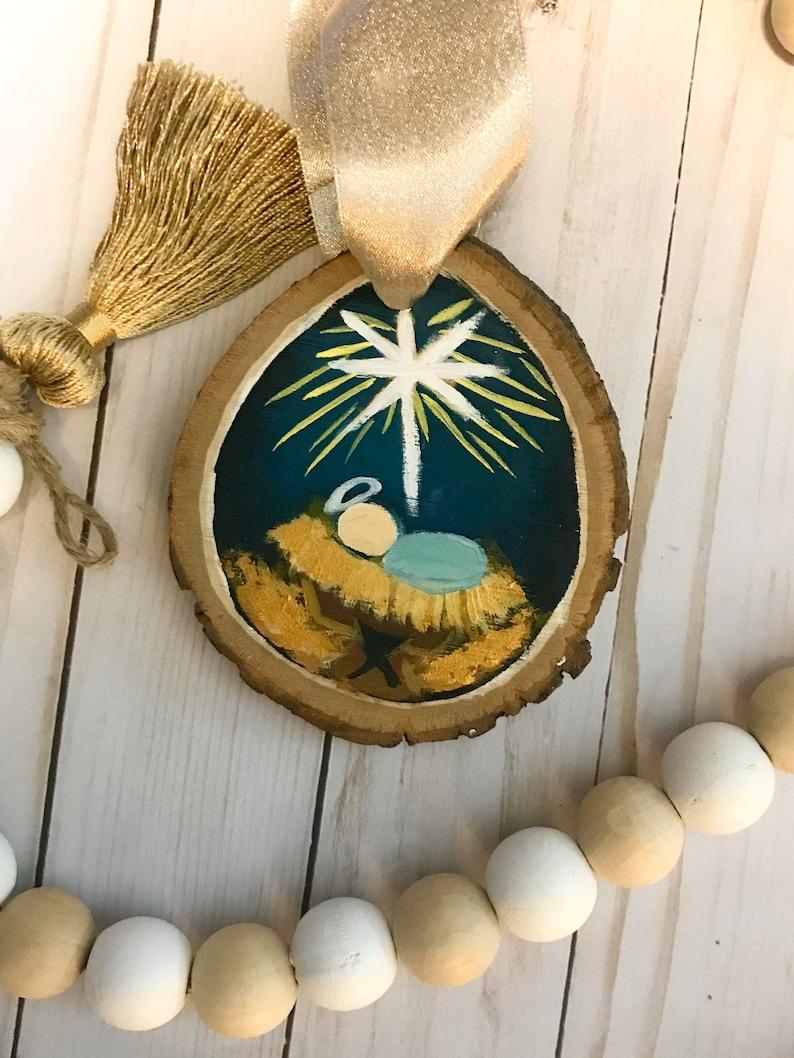 Baby Jesus Ornament Nativity Wood Slice Ornament Nativity Scene Ornament Manger Scene Ornament