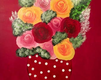 Bright red bouquet on checkered table