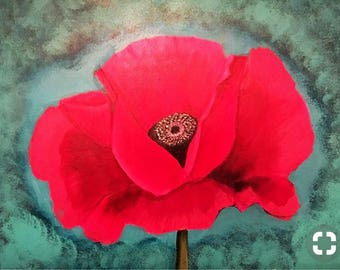 Pink poppy canvas painting