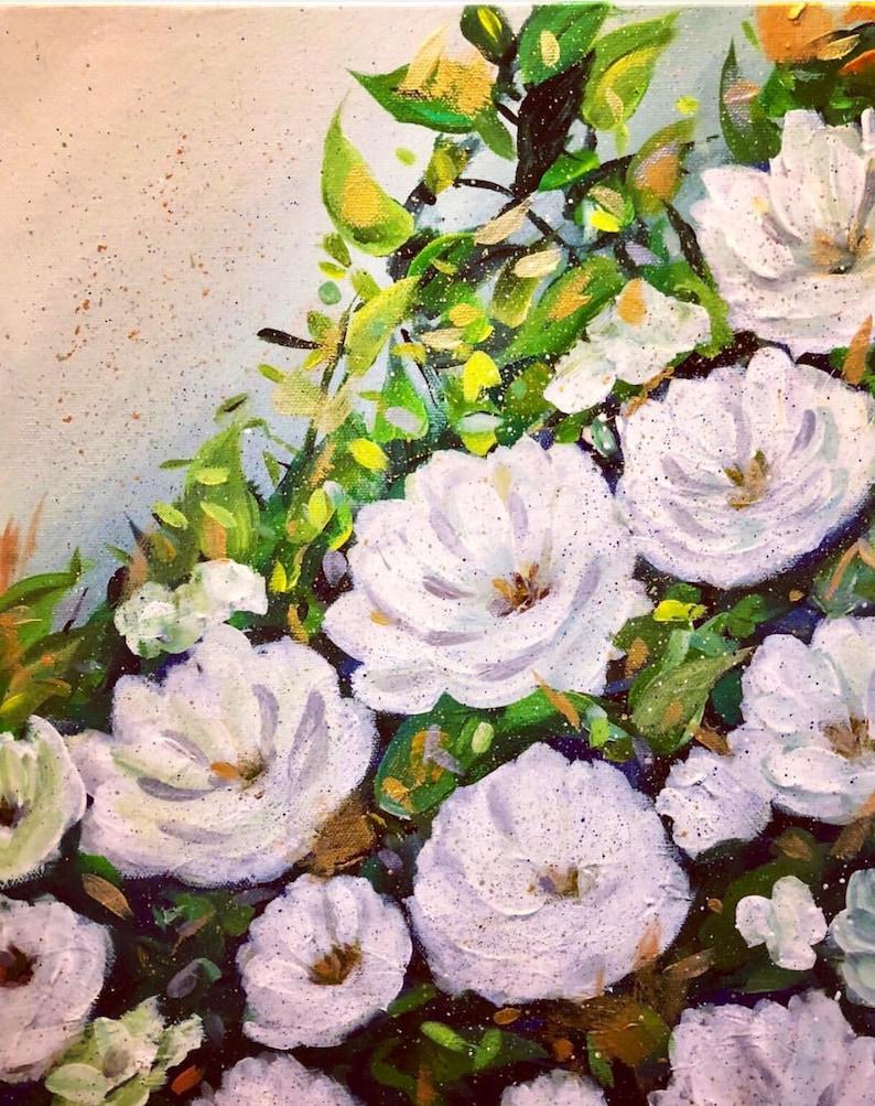 Nursery Floral Art White Floral Art Romantic Wall Art, Gardenia Wall Art Neutral Floral Art Modern Floral Art White Flowers Painting