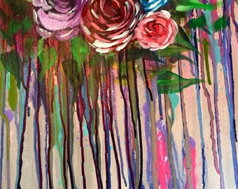 Whimsical drip roses painting