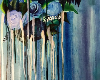 Blue Abstract Roses Painting