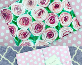 Pink Roses on Green Background Painting