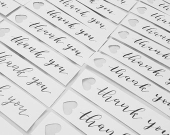 Pack of 10 wedding / event thank you tags / handwritten calligraphy
