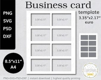 Printable business card template etsy 335x217 business card template euro instant download png psd formats 85x11 in a4 sheet digital svg dxf cut file for cricut silhouette flashek