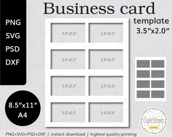 Business card template etsy 35x20 business card template mighty instant download png psd formats 85x11 in a4 sheet digital svg dxf cut file for cricut silhouette accmission Gallery