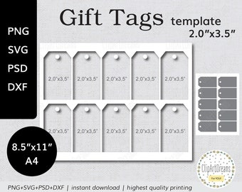 20x35 gift tag template gift labels hang tags template png psd printable download 85x11 a4 digital svg cut file for cricut silhouette
